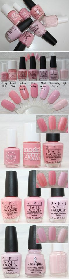 """I have a thing for pink nail polish.  Tesco """"Honey Pink,"""" Model's Own """"Pastel Pink,"""" OPI """"Italian Love Affair,"""" OPI """"Pink Friday,"""" OPI """"Mod About You,"""" China Glaze """"Something Sweet"""" & Essie """"Fiji."""""""
