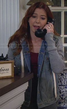 Lily's denim hooded jacket with grey sleeves on How I Met Your Mother.  Outfit Details: http://wornontv.net/25863/ #HIMYM