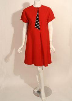 Geofffey Beene Vintage Red Mod Dress w/ B/W Polkadots