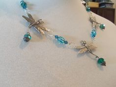 July Challenge 3.  Blue Vintage art glass and crystals hang from the tails of silverplate dragonflies from B'Sue's