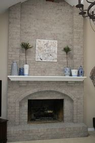 Monograms 'n Mud: Fireplace Reveal & Family Room Updates Basement Fireplace, Fireplace Update, Fireplace Hearth, Home Fireplace, Fireplace Surrounds, Fireplace Ideas, Mantle Ideas, Painted Stone Fireplace, White Wash Brick Fireplace