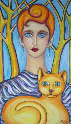 Femme drapée au chat