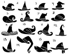 Eri Kawakami: witch hat silhouettes/// hers is # 1 Felt Witch Hat, Diy Witch Hat, Witch Drawing, Hat Tutorial, Wreath Tutorial, Hat Crafts, Poses References, Witch Art, Witch Painting