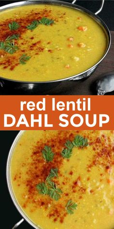 Red Lentil Dahl Soup is an easy to make recipe with a couple of unusual steps to complete this flavorful and satisfying soup. A creamy Indian lentil dahl soup that's gluten-free too #lentildahlsoup #redlentildahlsouprecipe #redlentildahlsoup #vegandahlsoup #Indiandahlsoup #Indianredlentildahlsoup #veganinthefreezer Best Soup Recipes, Chili Recipes, Vegan Recipes Easy, Indian Food Recipes, Vegetarian Recipes, Dinner Recipes, Popular Recipes, Red Lentil Dahl Recipe, Kitchens