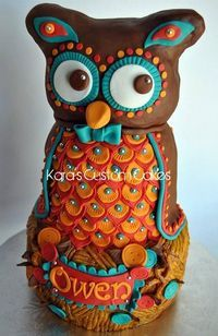 3D carved Owl cake for a First Birthday! One of my favorite kiddo cakes so far :)
