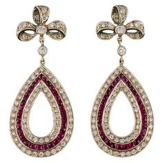 Teardrop shaped diamond and ruby estate earrings from Shreve, Crump & Low