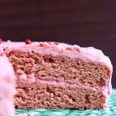 This Gluten-Free Vegan Strawberry Cake is fresh and fruity, full of strawberry flavour and naturally coloured! A fluffy strawberry-infused sponge with creamy strawberry frosting. Refined sugar free.