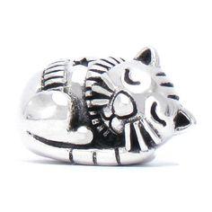 BELLA FASCINI® Christmas Sleepy Kitty Cat Bead Charm by BellaFasciniBeads