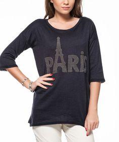 Look what I found on #zulily! Navy 'Paris' Boatneck Sweater #zulilyfinds