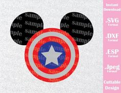 Captain America Superhero Mickey Ears Disney Inspired Cutting File in SVG, ESP, DXF and JPEG Format