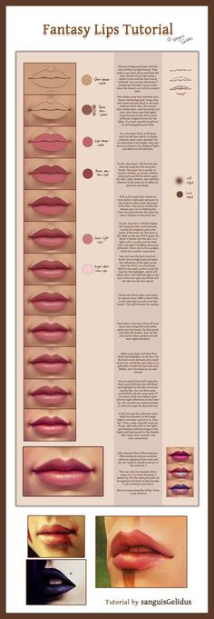 Fantasy lips tutorial. How to draw paint mouth.