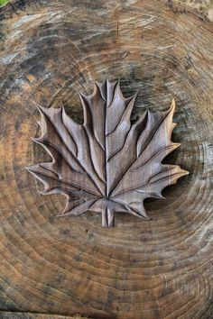Hand Carved Black Walnut Wood Maple Leaf