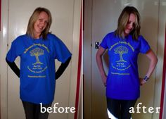 Resize a t-shirt, I have done this today on several t-shirts I had in my closet that I never wore because they were too big.....works like a charm!!