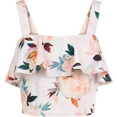 New Look Petite White Floral Print Frill Crop Top (£18) ❤ liked on Polyvore featuring tops, crop top, shirts, white pattern, white ruffle shirt, flounce tops, flower print shirt, white shirt and print shirts