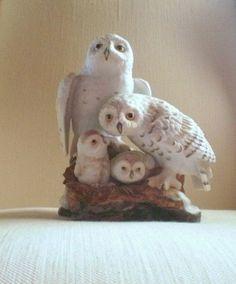 Vintage 80's Snowy Owl family Danbury Mint by VeraseraVintage