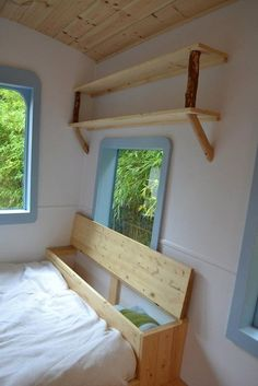 Big Fan Of Behind The Headboard/couch Storage, Re. Amazing 5 Micro Guest  House Design Ideas : Modern White Blue And Wooden Hornby Island Caravans  Tiny House ...