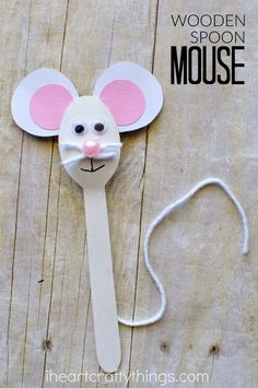 Wooden Spoon Mouse Craft for Kids