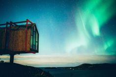 In the Arctic Circle, a collection of nine cabins sit against the rocky landscape of Norway's Fleinvær archipelago. The creation of the composer Håvard Lund, Fordypningsrommet. Oslo Airport, Norway Design, Visit Norway, Tromso, Arctic Circle, Lofoten, Archipelago, Great View, Hotel Reviews