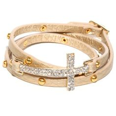Gold Leather Triple Wrap Bracelet with Crystal Sideways Cross and Gold Tone Studs Heirloom Finds. $24.99. Buckle Closure. Arrives Gift Boxed!. Wraps Around the Wrist Multiple Times - Fits any wrist. Bracelet measures approximately 23 inches long and 3/4 inches wide at Pave cross. Pave Crystal Cross and Gold Tone Studs. Save 44%!