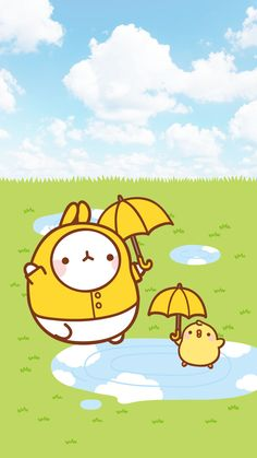 molang jumping in puddles