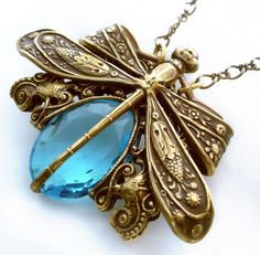 A Victorian Affair Vintage Filigree Jeweled Dragonfly by Federikas