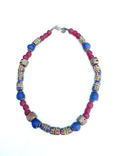 Korte ketting - African necklace with beads from Ghana(S-530a) - Een uniek product van DomesDesign op DaWanda Afrika | Afrika | Ghana | Ivoorkust | Ivory Coast | Côte d'Ivoire | oorbellen | earrings | Boucles d'oreilles | chaîne | chain | beads | glaskralen | Dome's Design