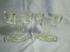 Anchor Hocking Manhattan Art Deco Glass Double Candle Holder