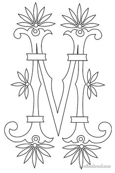 Free Hand Embroidery Monogram: Fan Flower M