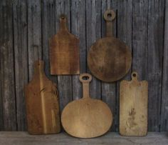 RARE Lot Primitive Antique Early Tombstone Lollipop Wood Cutting Boards AAFA #Country