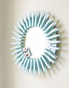 Ooh, blue clothespin mirror...
