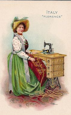 The photograph shows a Florentine woman of the industrious, middle class stitching a straw hat into shape by means of a Singer sewing machine.