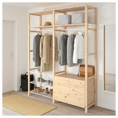 IVAR, Shelving unit with clothes rail, cm. Now in the IVAR storage system there is also a clothes rail, wire shelf and cover. Perfect if you want to create a simple wardrobe. Easy to fix in place without tools – in an existing or new combination. Ikea Shelving Unit, Metal Shelving Units, Wire Shelving, Ikea Ivar Shelves, Ikea Inspiration, Open Wardrobe, Simple Wardrobe, Wardrobe Rack, Clothes Rail Ikea
