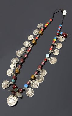 Southern Morocco | Necklace; silver, coins and various stone and glass beads | Sold ~ (May '15)