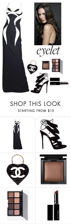 """""""Eyelet Studded Gown"""" by kotnourka ❤ liked on Polyvore featuring Versace, Giuseppe Zanotti, Chanel, Bare Escentuals and Witchery"""