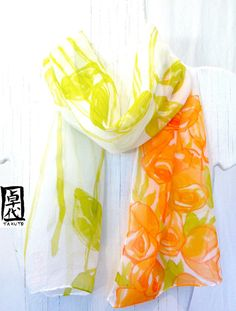 Hey, I found this really awesome Etsy listing at https://www.etsy.com/listing/98327521/hand-painted-silk-scarf-orange-roses