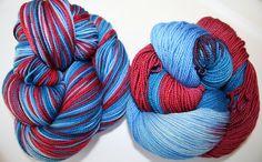Captain America Superwash Panache 3 color by FishknitsYarn on Etsy, $22.50