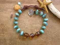 Bohemian knotted bracelet - Splash - beach jewelry, leather, wrap bracelet, aqua, artisan silver, tortoise shell, aquamarine, opal, summer