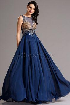 Luxurious A Line Empire Waist Beaded Blue Formal Dress (36161405)