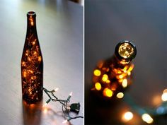 these would be cute outside... wine bottles + christmas lights...