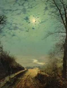 British Paintings: John Atkinson Grimshaw - A Wet Road by Moonlight, Wharfdale