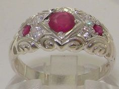 English-Solid-925-Sterling-Silver-Ruby-Diamond-Vintage-Wedding-Band-Ring