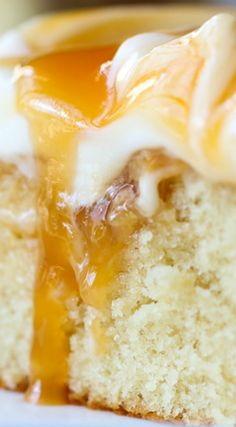 Quick and Easy Caramel Cake topped with Creamy Cream Cheese Frosting ~ It is…