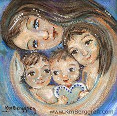 Más suave madre con tres hijos blues suave imprimir