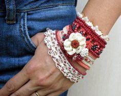 CHRISTMAS SALE Crochet Bracelet Cuff Beaded by SvetlanaCrochet
