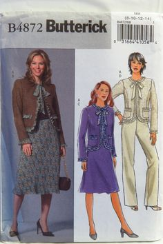 Butterick 4872 Misses'/Misses' Petite Jacket, Skirt, and Pants