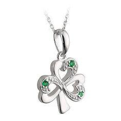 Silver Shamrock and Synthetic Emeralds Necklace-Irish Made Solvar. $70.00