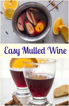 Easy Mulled Wine Recipe,red wine simmered with slices of orange, apple, cinnamon, cloves, fig and honey.A delicious simple feel better drink. via /https/://it.pinterest.com/Italianinkitchn/