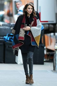 Burberry poncho + leopard booties.