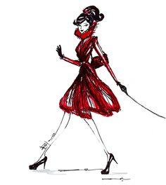 Fashion illustration // Captivating Pajaro red fur wrap coat  #pajaro #pajarofurs #fur #coat #dresscoat #captivating #illustration #drawing #sketch