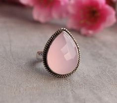 Rose quartz ring sterling silver ring Gemstone ring by Studio1980